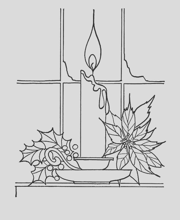 christmas candle near window coloring pages