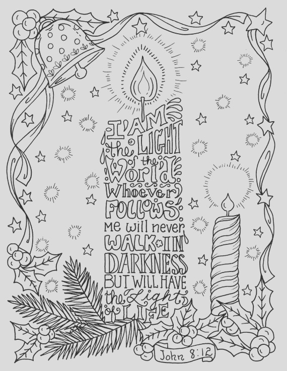 christmas candle coloring page christian