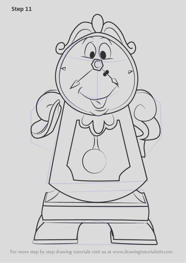 how to draw cogsworth from beauty and the beast