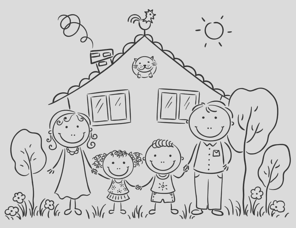 free printable happy family coloring pages