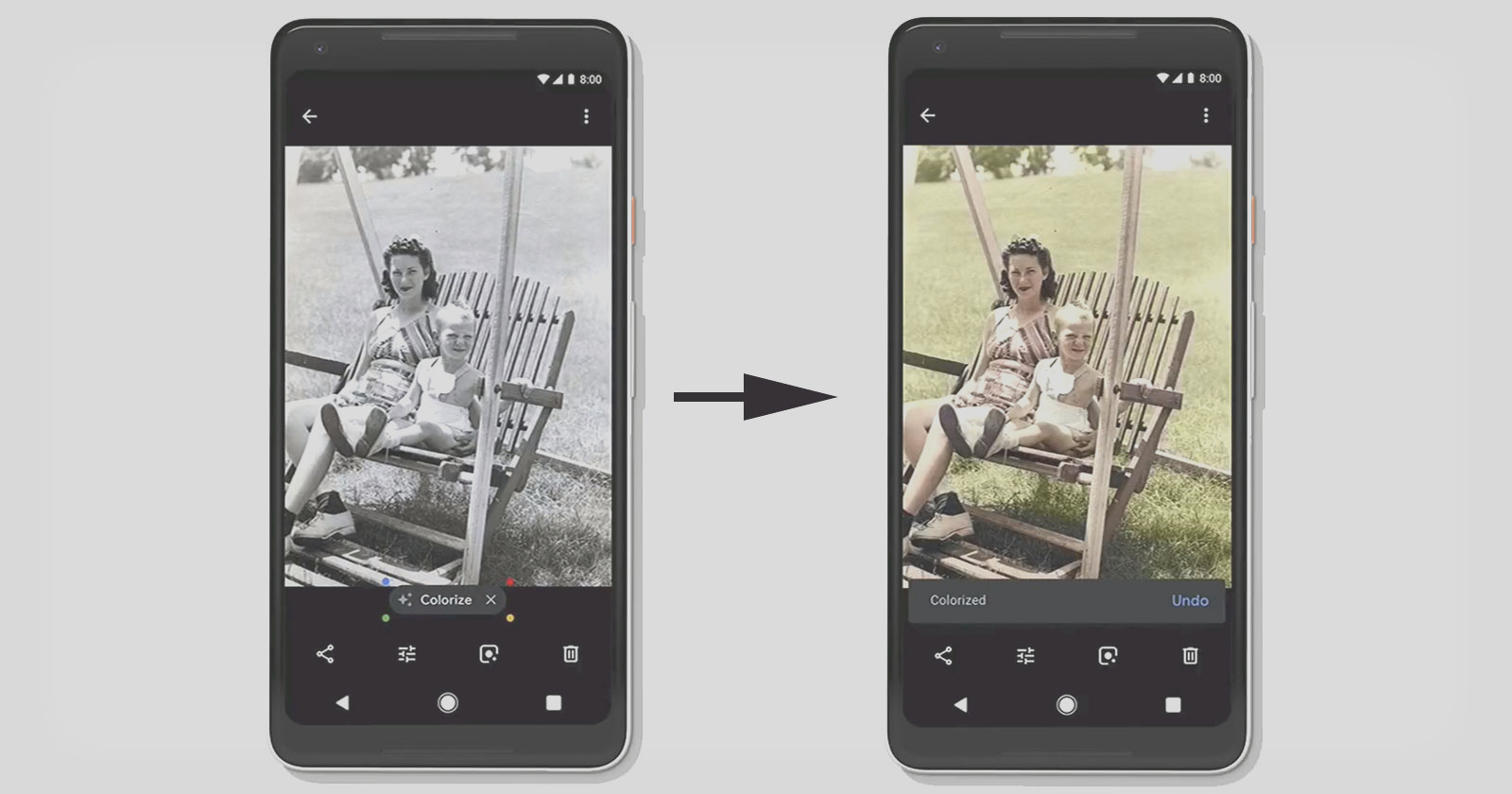 google photos to use ai to colorize black and white photos