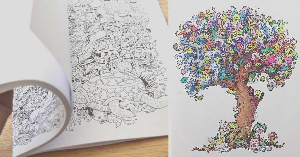 adult coloring book doodle invasion kerby rosanes