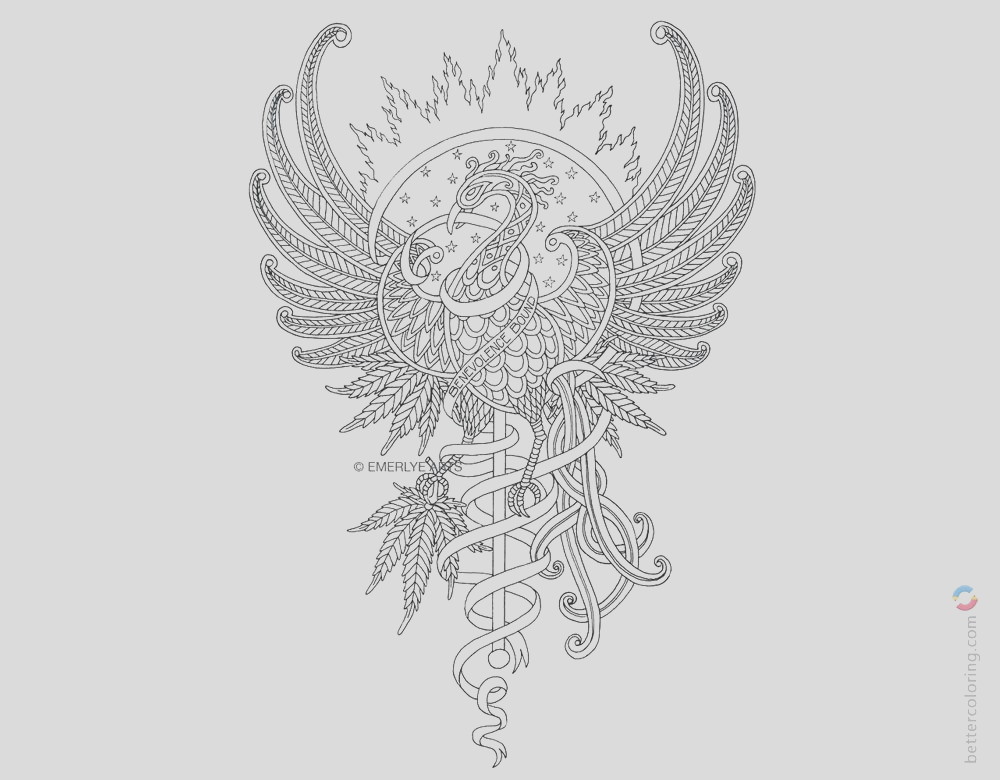 weed tattoos coloring pages
