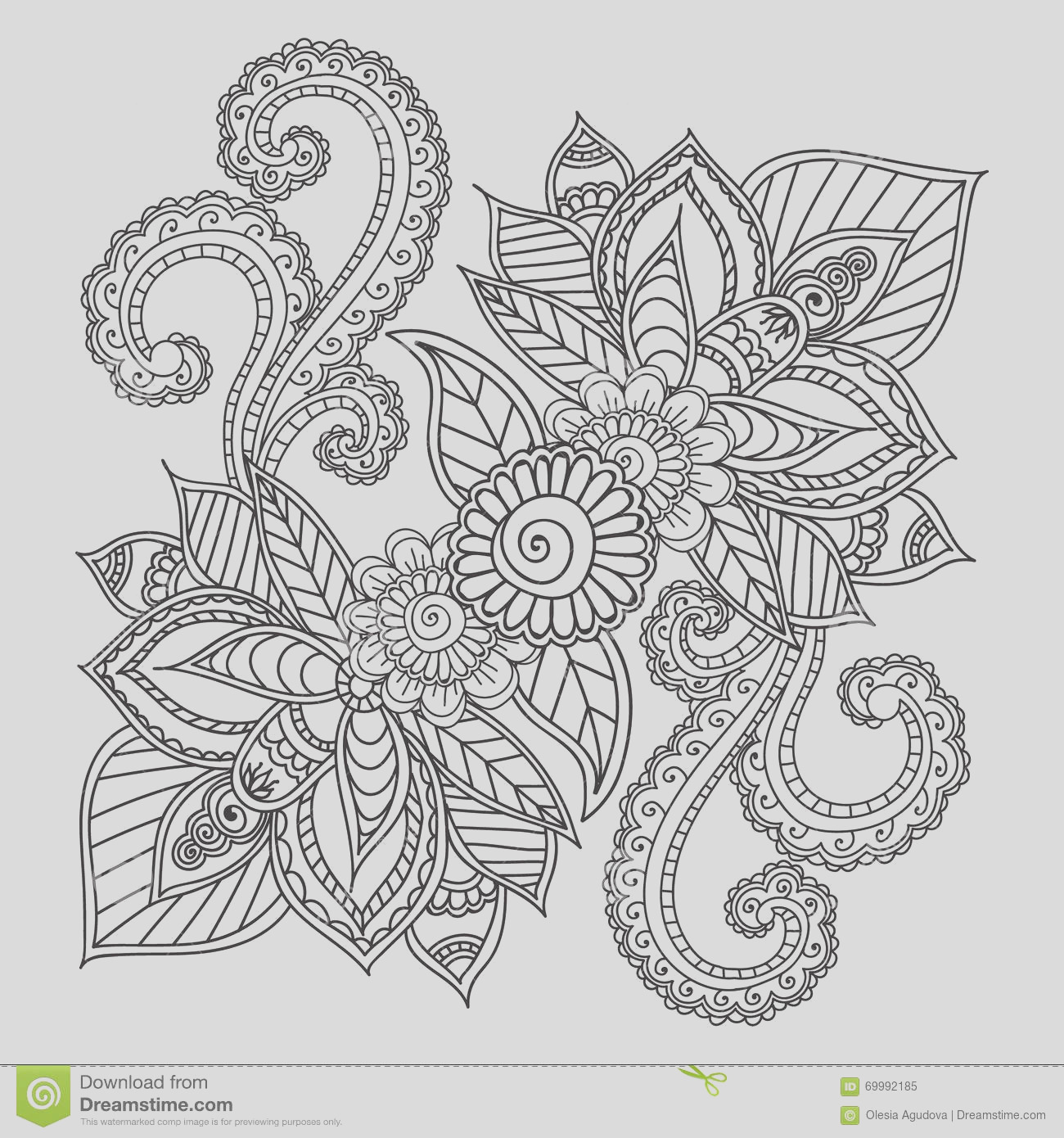 stock illustration coloring pages adults henna mehndi doodles abstract floral elements paisley design mandala vector illustration book image
