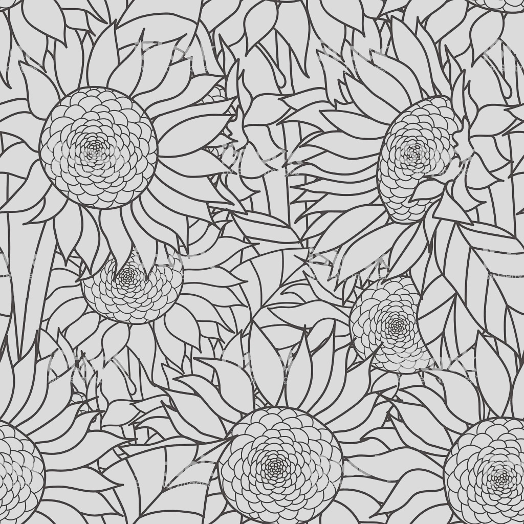 seamless sunflowers bouquet vector coloring book page for adults hand gm