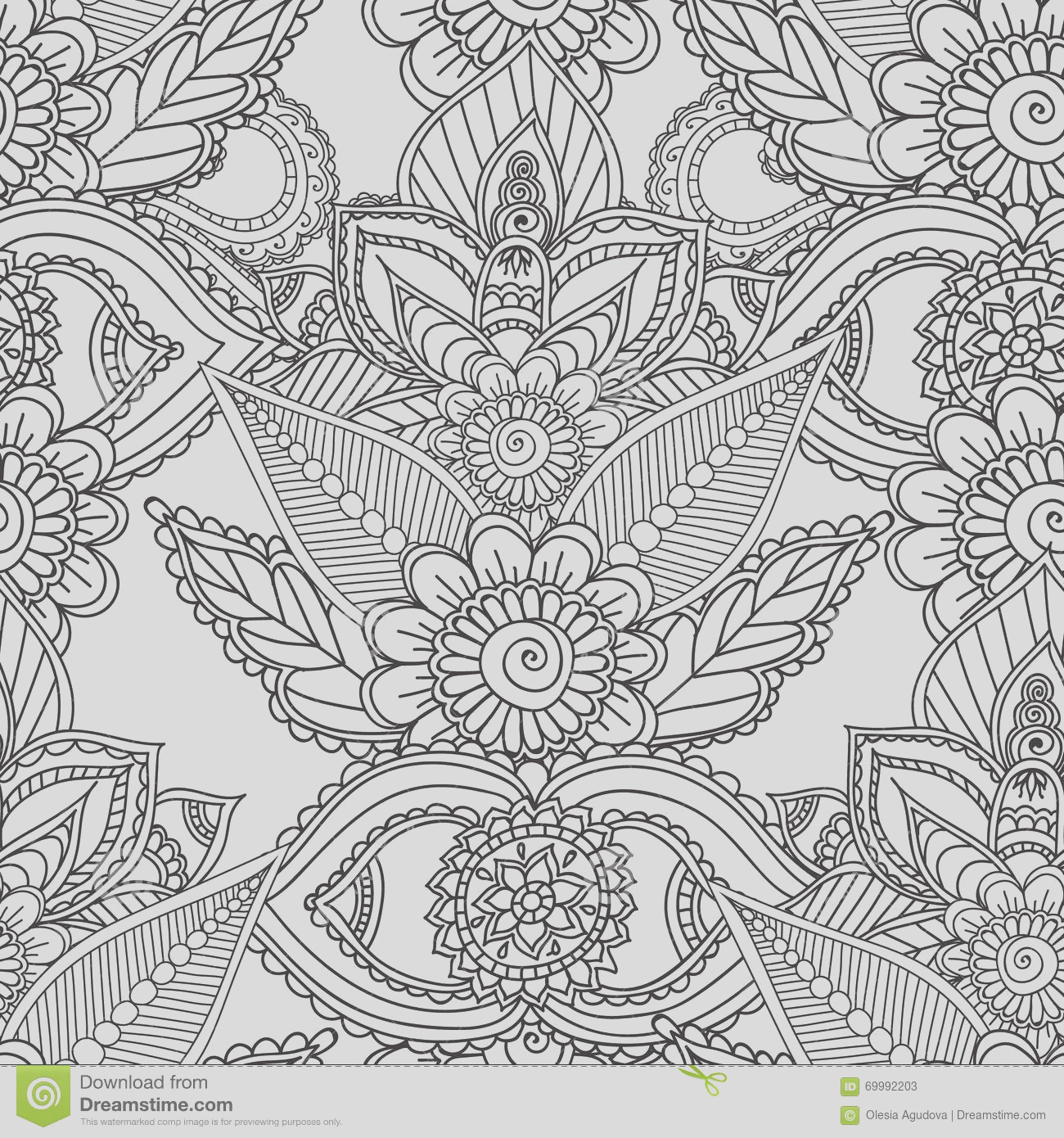 stock illustration coloring pages adults seamles henna mehndi doodles abstract floral elements seamless pattern paisley design mandala vector image