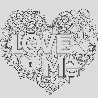 vector coloring page for adult heart made of abstract flowers butterflies birds gm