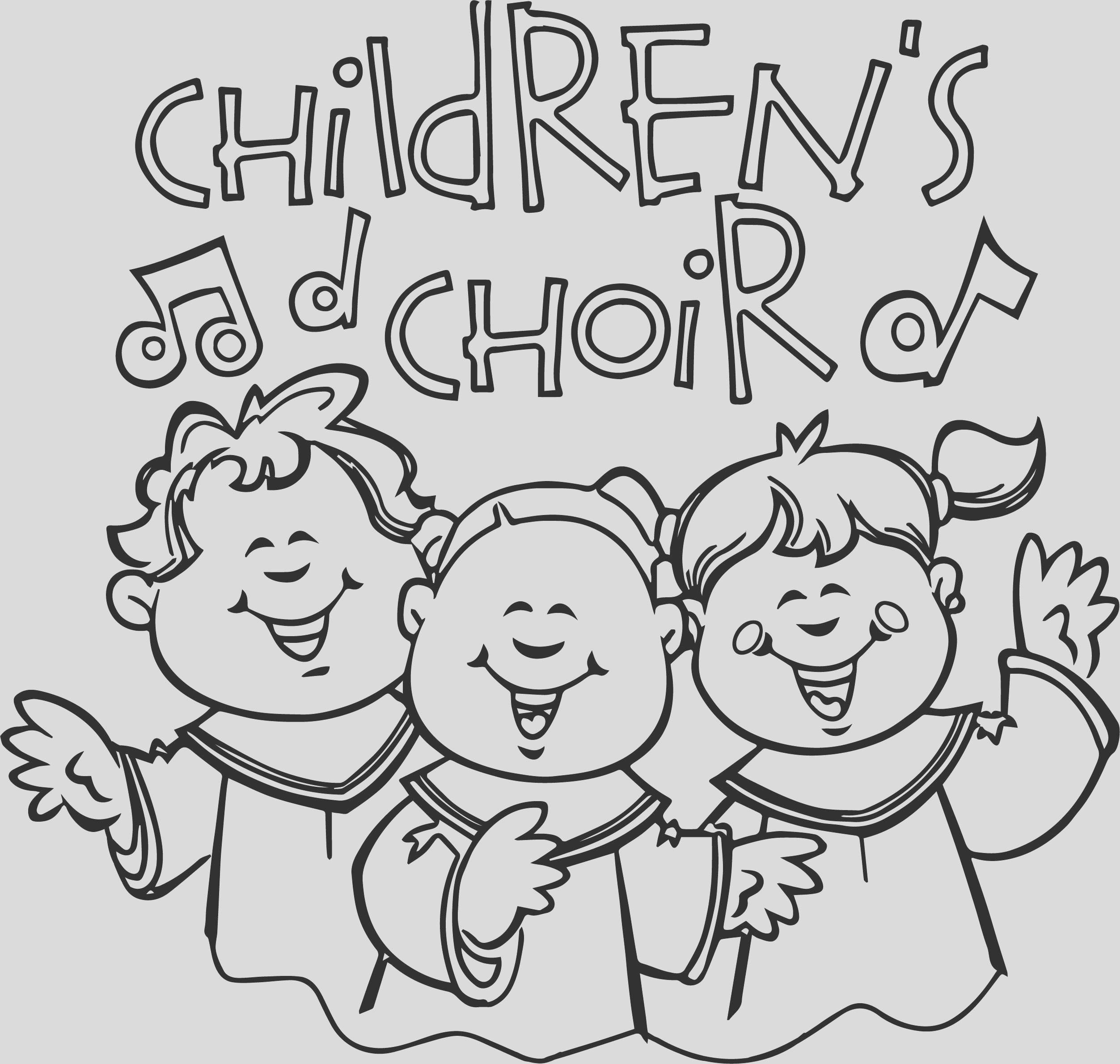 children singing church coloring page