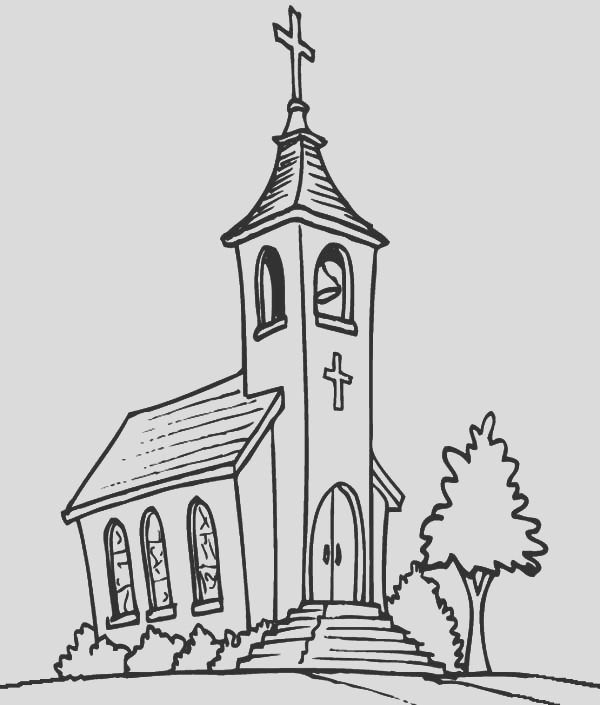 church tower with bell coloring pages