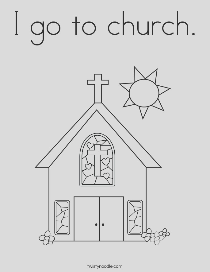 i go to church coloring page