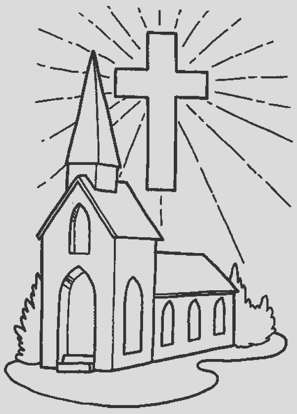 church and shining cross coloring pages