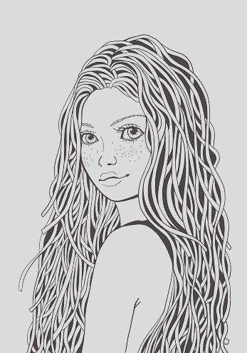 cute girl coloring book page for adult black and white doodle style gm