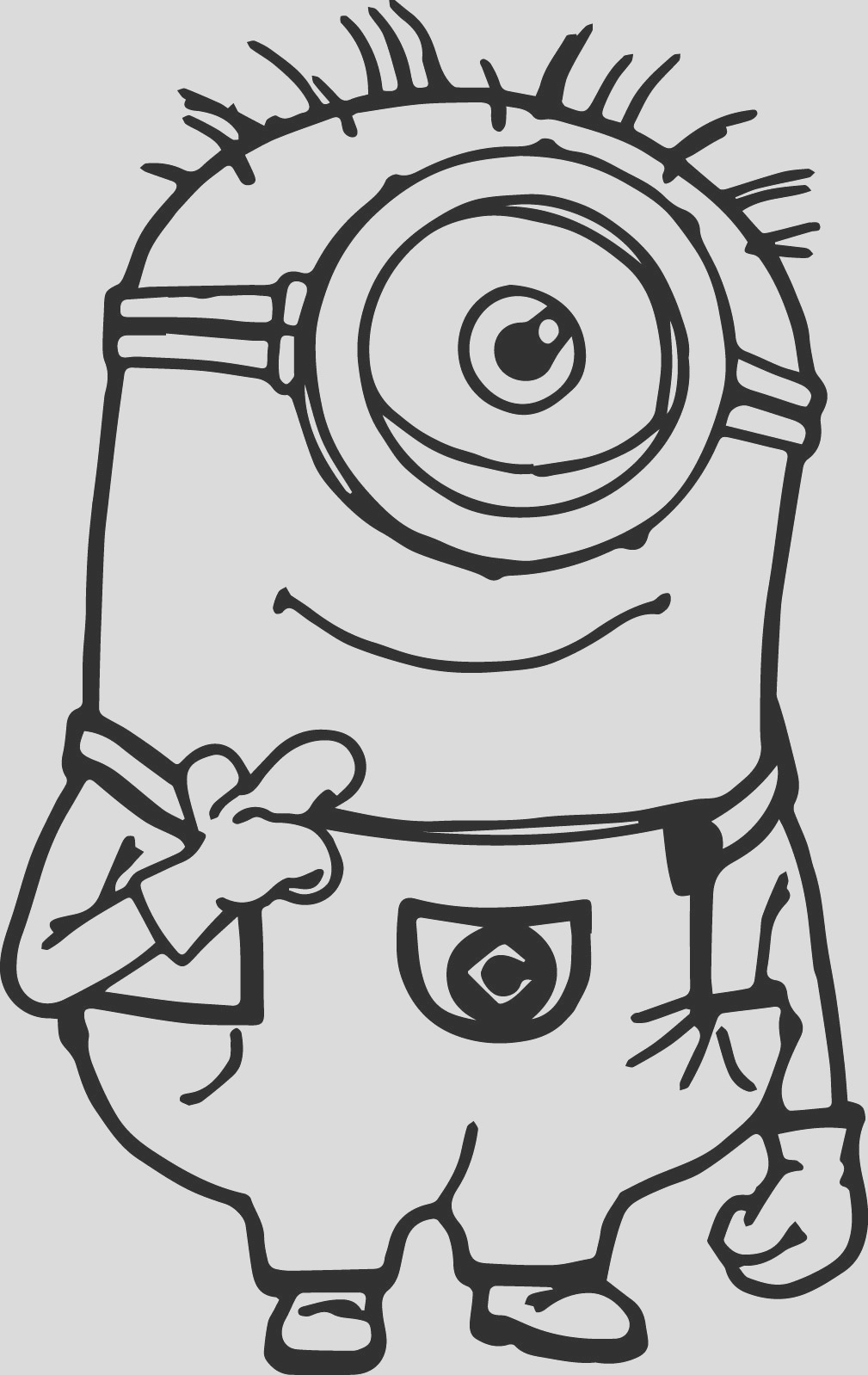 minion thinking coloring page