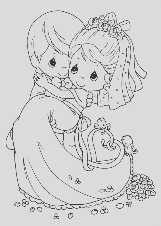 newlyweds precious moments coloring