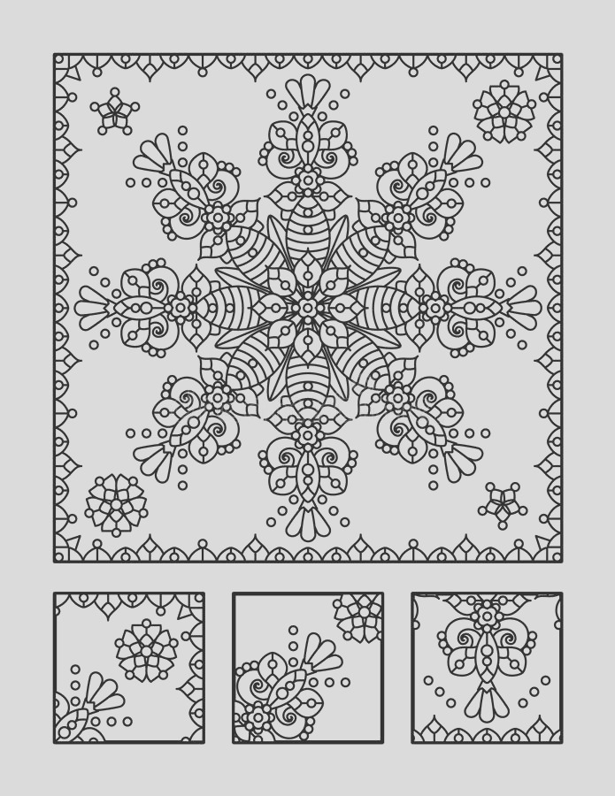 stock illustration coloring page visual puzzle adults framed mandala children ok too directions find fragment does not belong image