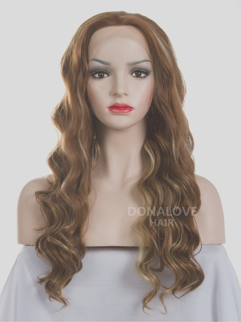206 mixed color mid back length wavy synthetic lace wig sny034