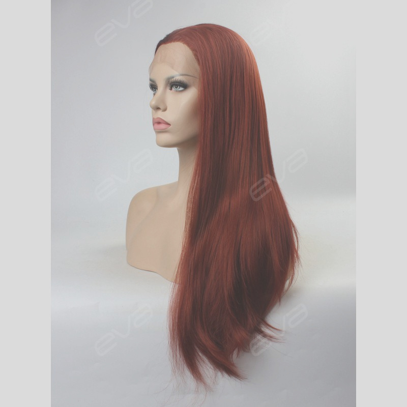 376 reddish brown ginger color long straight synthetic lace front wig