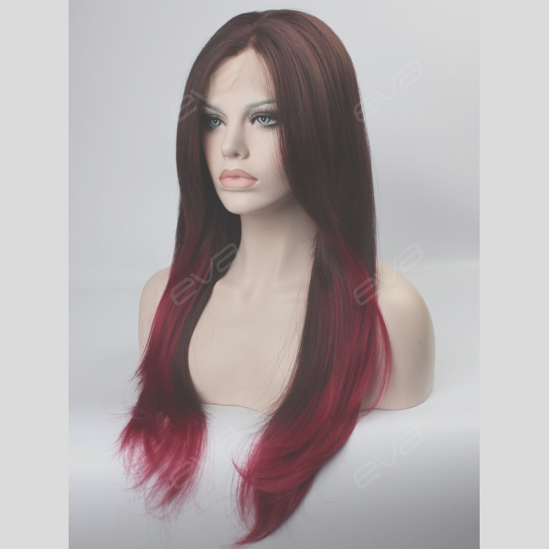 22 brown to fuchsia ombre color high quality synthetic lace front wig