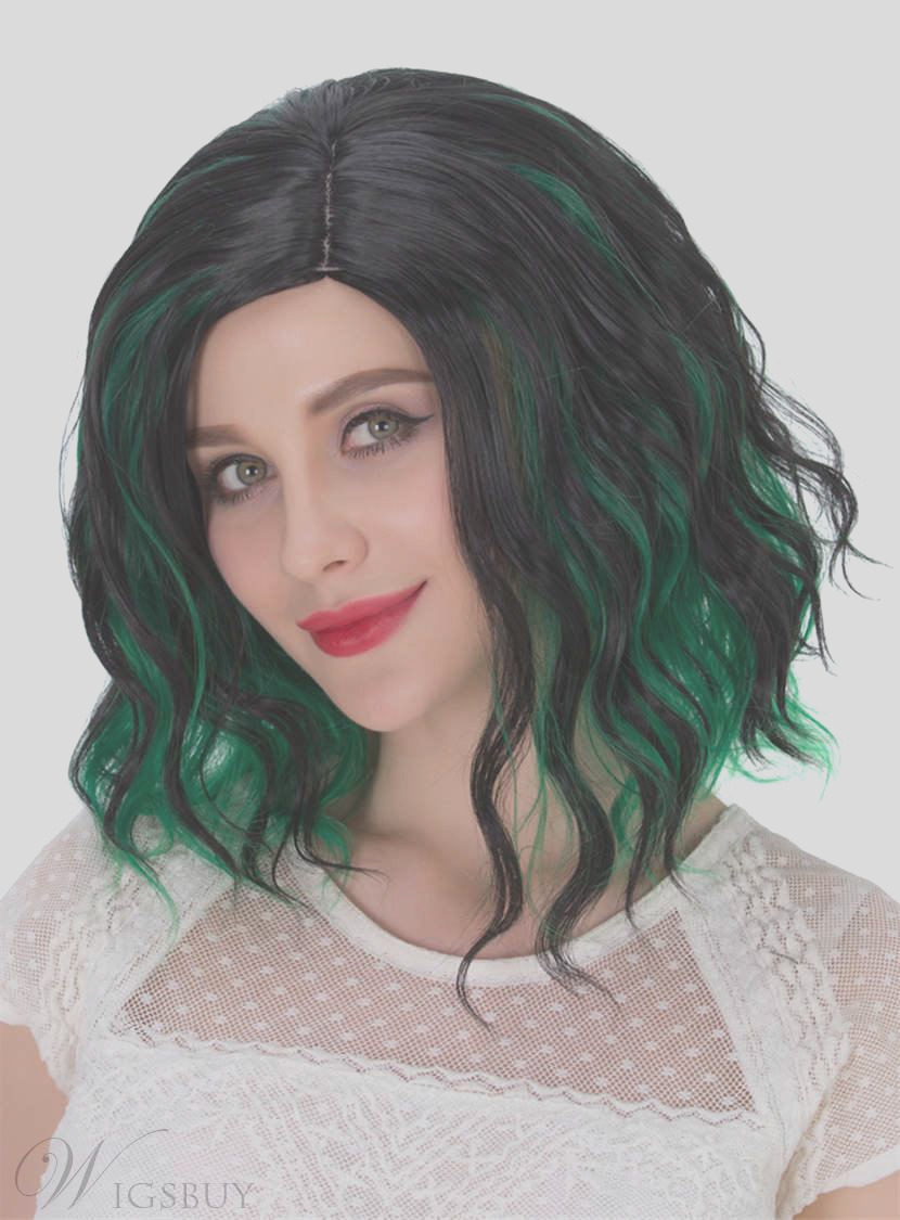 Lob Mixed Color Green And Black Synthetic Hair Messy Wave Medium Wigs Capless Cap 12 Inches