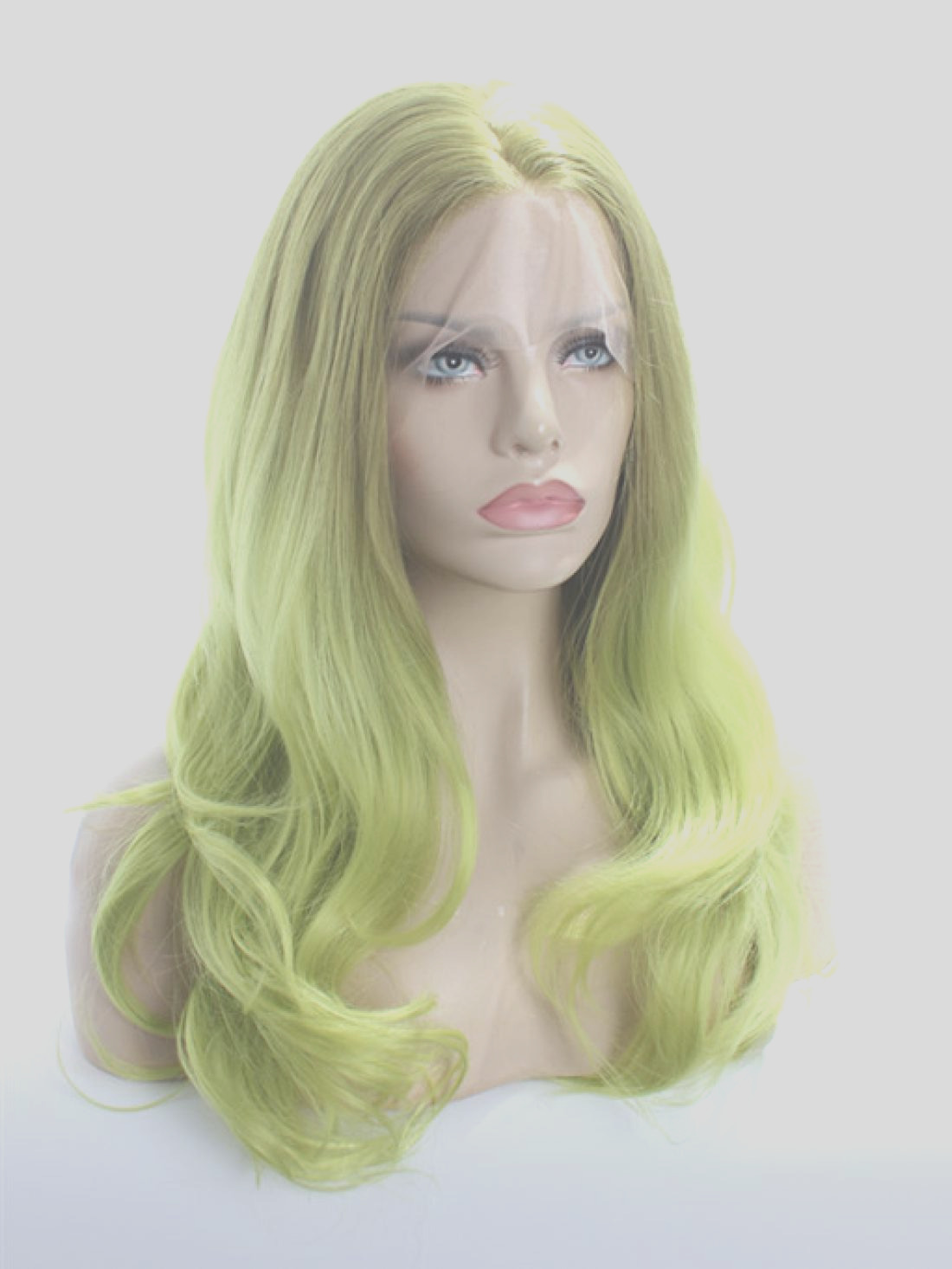 613 light green color synthetic lace front wig
