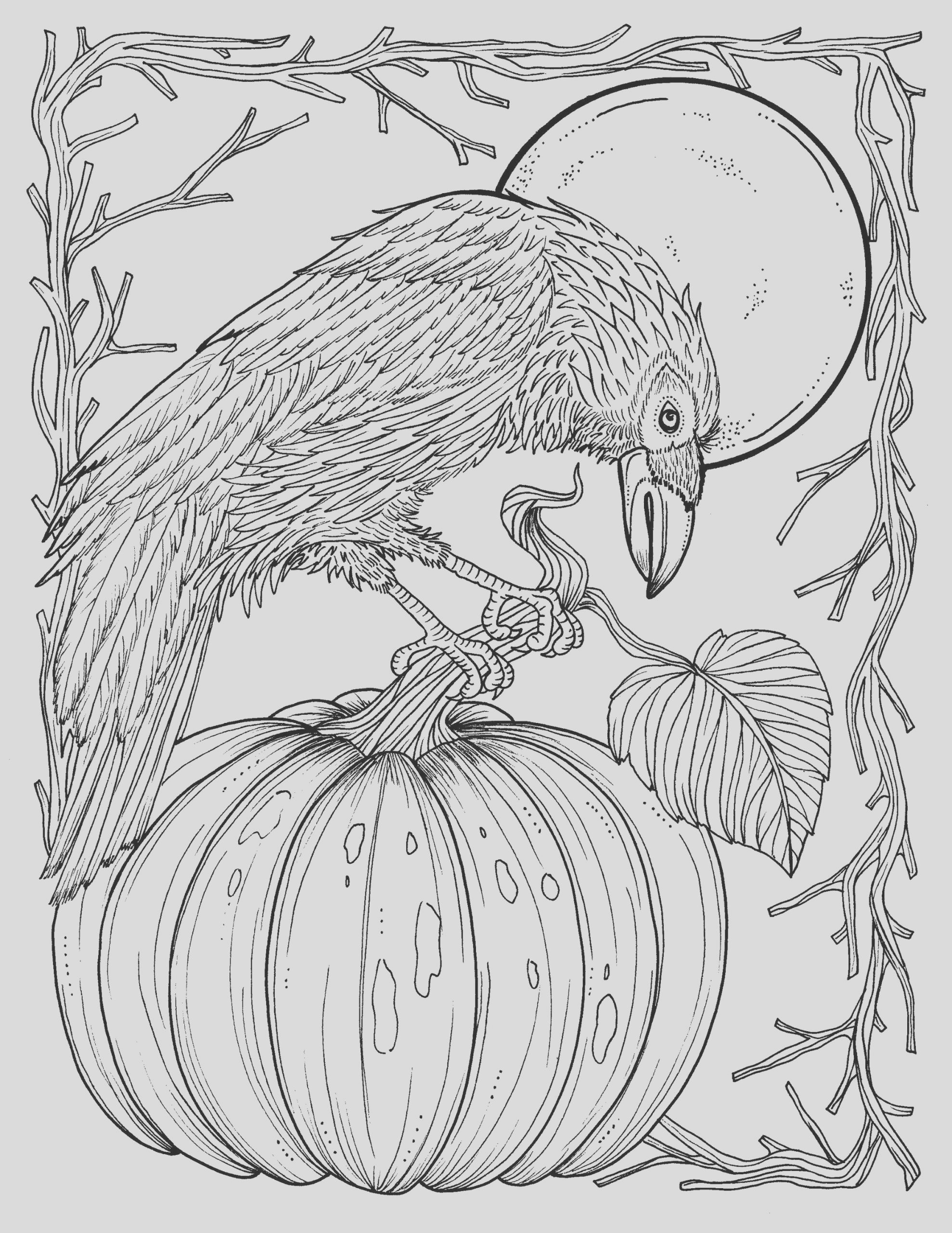 fall crow digital coloring page