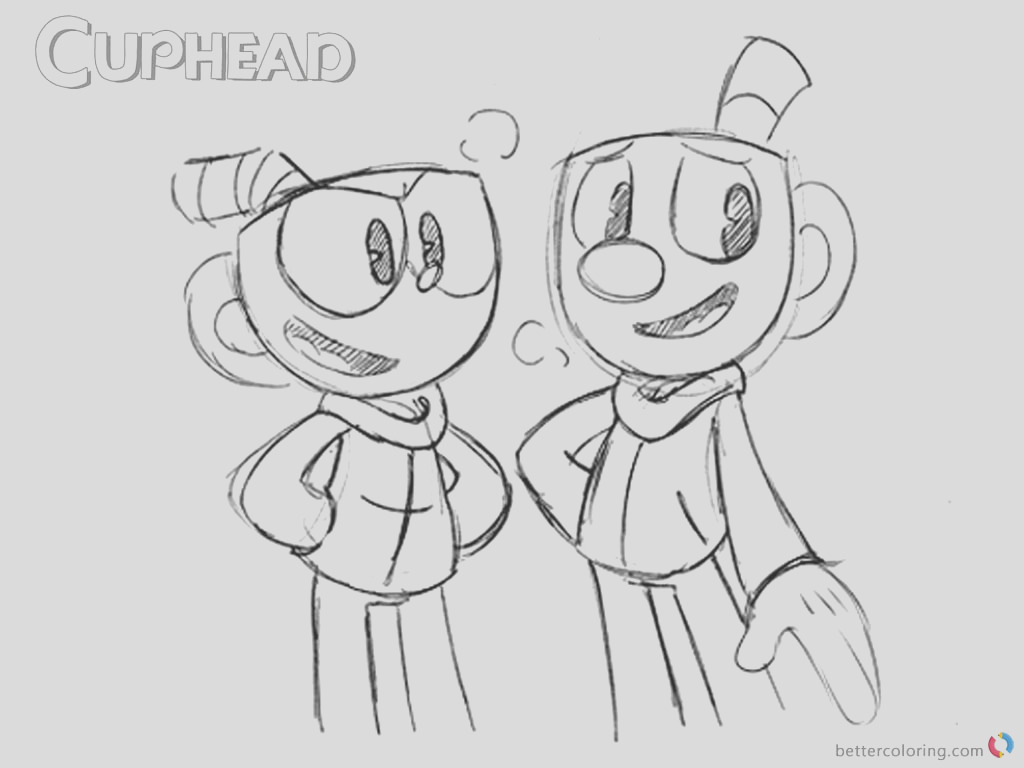 cuphead talking with mugman from cuphead coloring pages