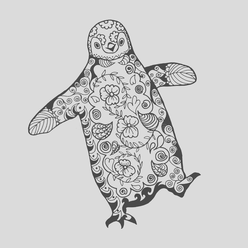 stock illustration cute penguin adult antistress coloring page black white hand drawn doodle animal ethnic patterned african indian totem tribal image