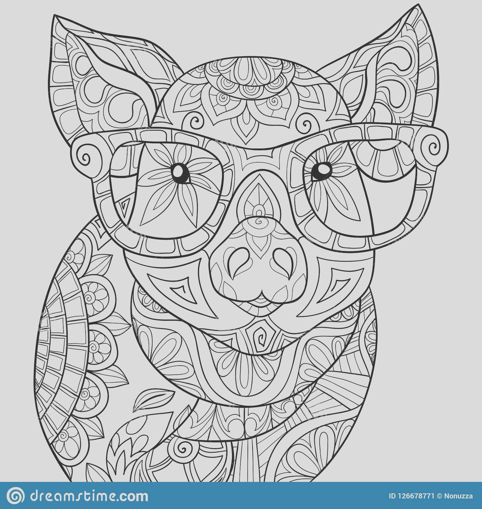 adult coloring book page cute pig image relaxing zen art style illustration cute pig wearing sunglasses zen tangle image
