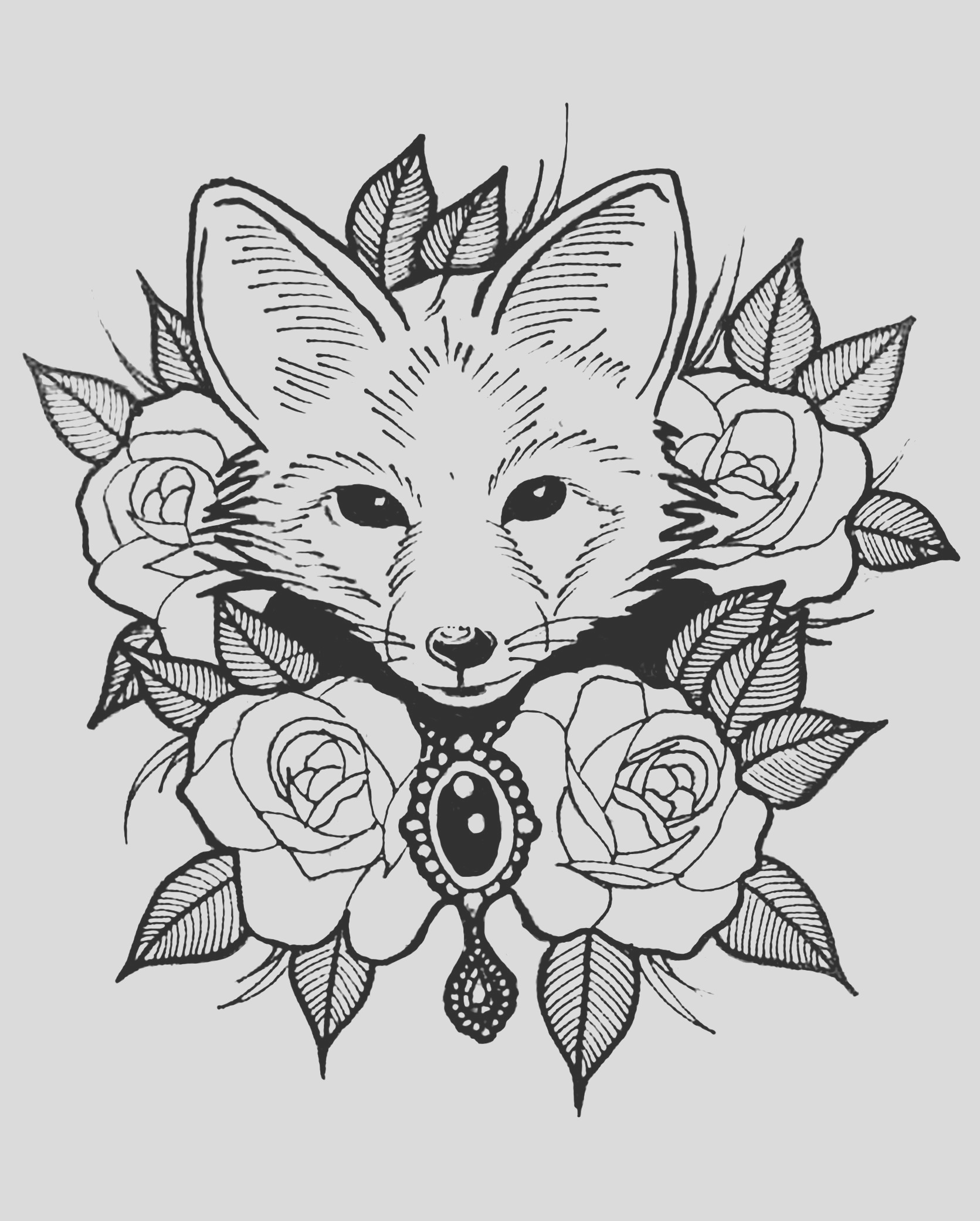 image=foxes coloring page cute fox with roses 1
