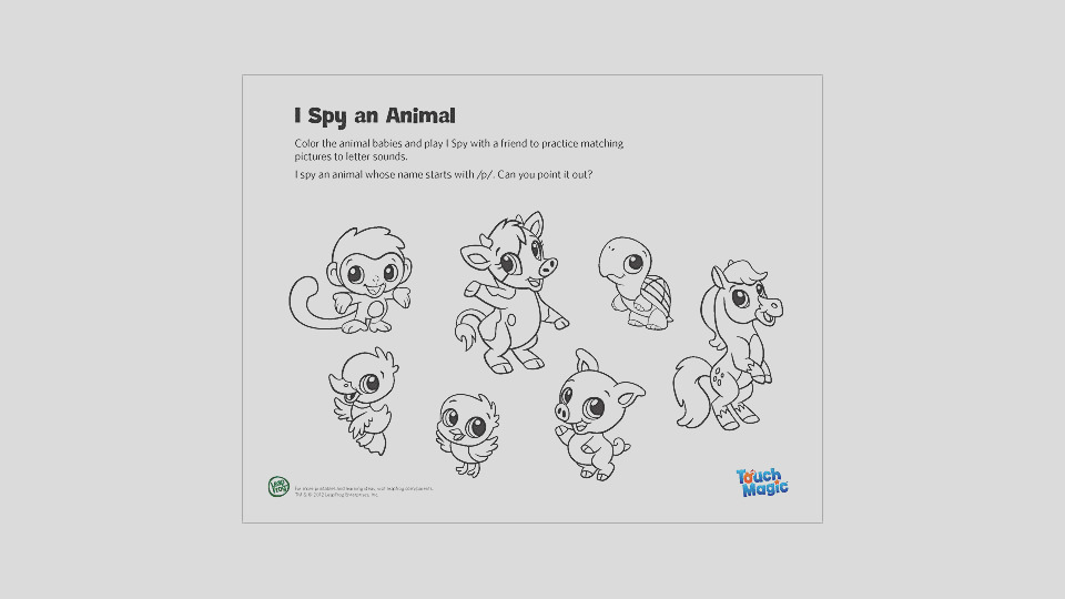 touch magic i spy an animal coloring page