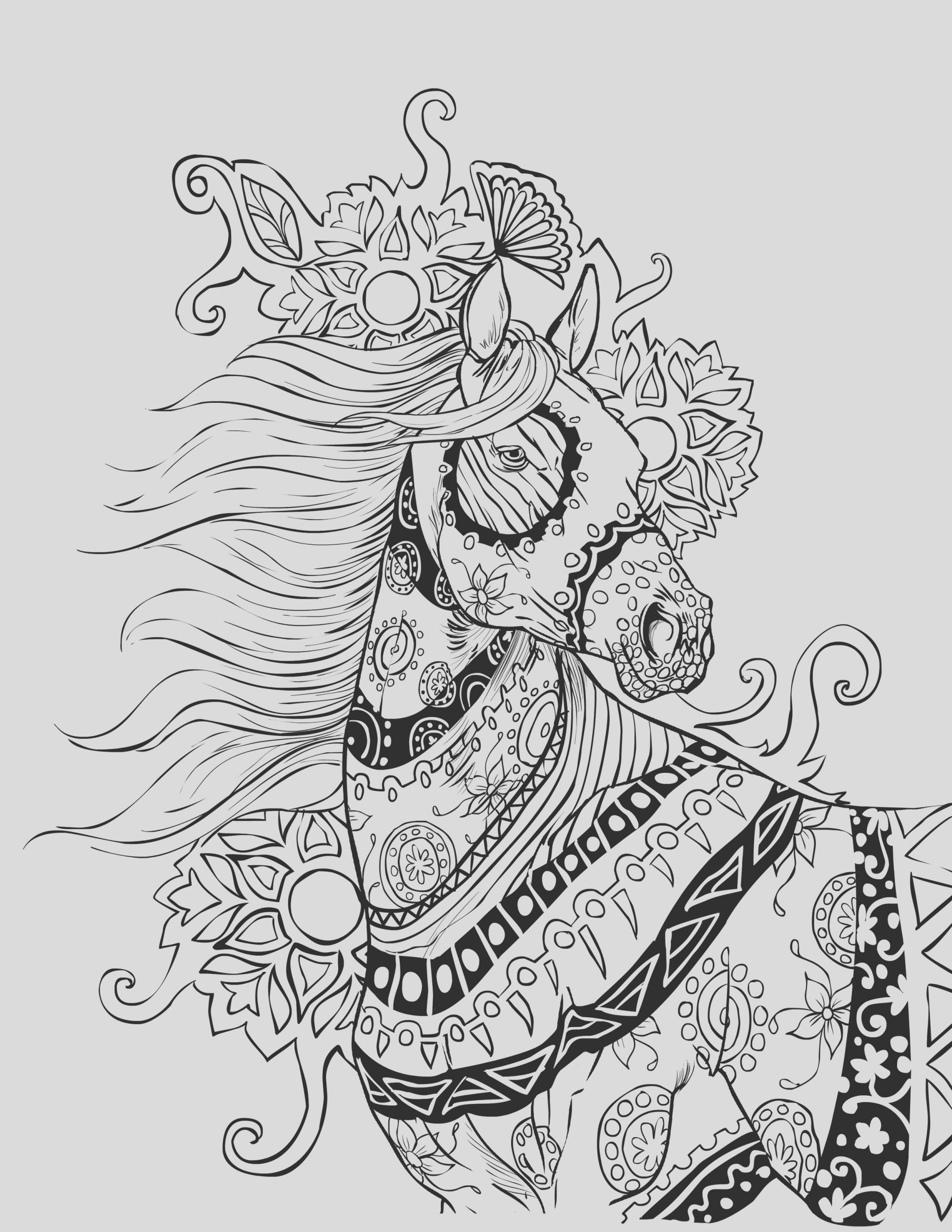 detailed horse coloring pages for adults sketch templates