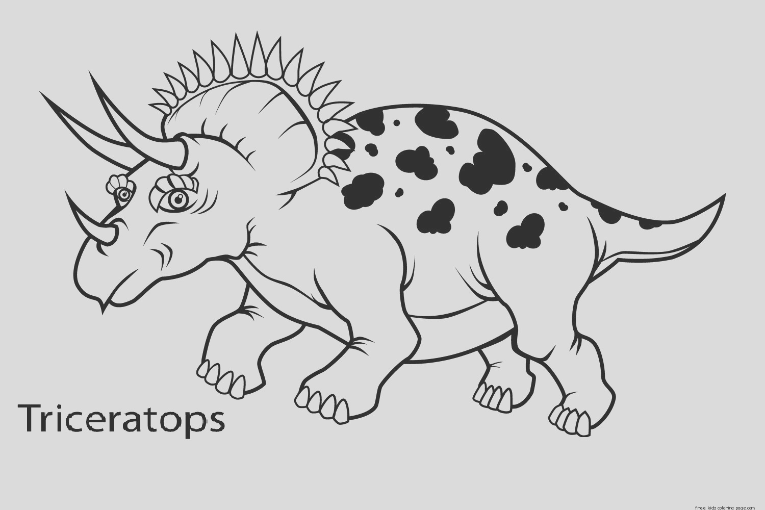printable triceratops dinosaur coloring book pages for preschool
