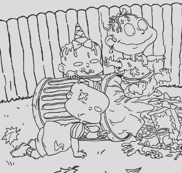the rugrats is dirty they play in garbage can coloring page
