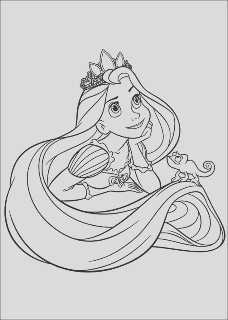 tangled easy coloring pages disney princess rapunzel day dreaming