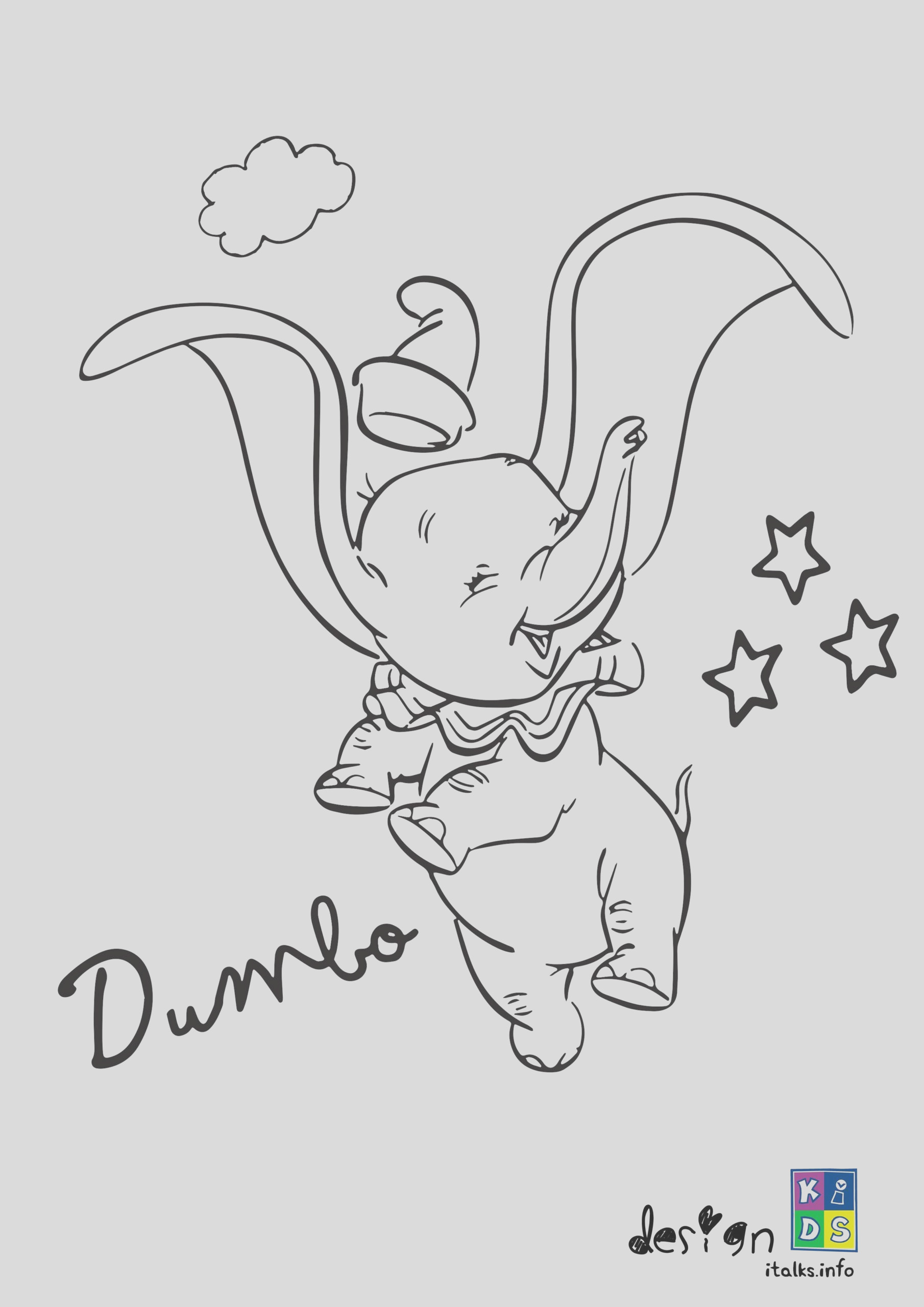 disney dumbo coloring page for kids