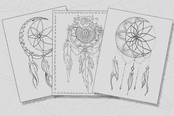 dream catcher pack adult coloring pages