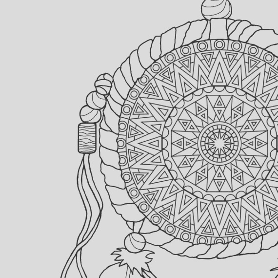 dream catcher coloring page to print and