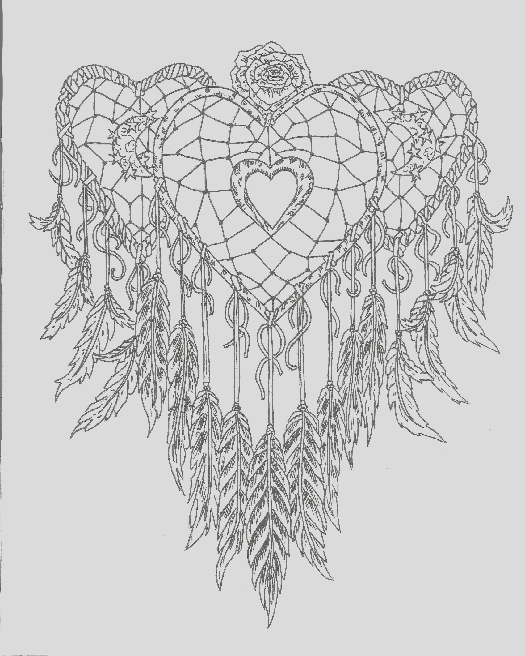 heart dream catcher coloring page