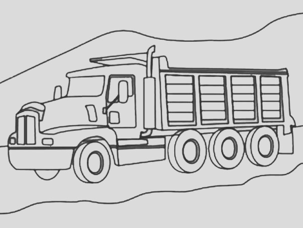 3 axle dump truck on mountain road coloring page