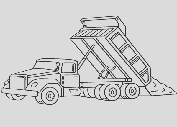 dumping dirt dump truck coloring page