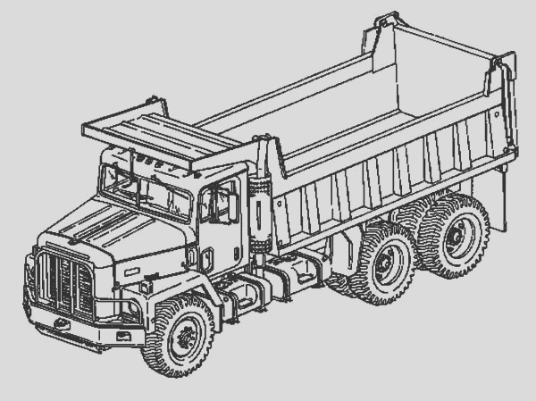 double axle dump truck coloring page
