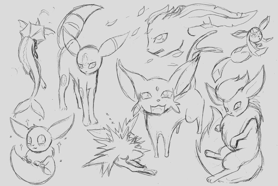 eeveelutions coloring pages sketch templates