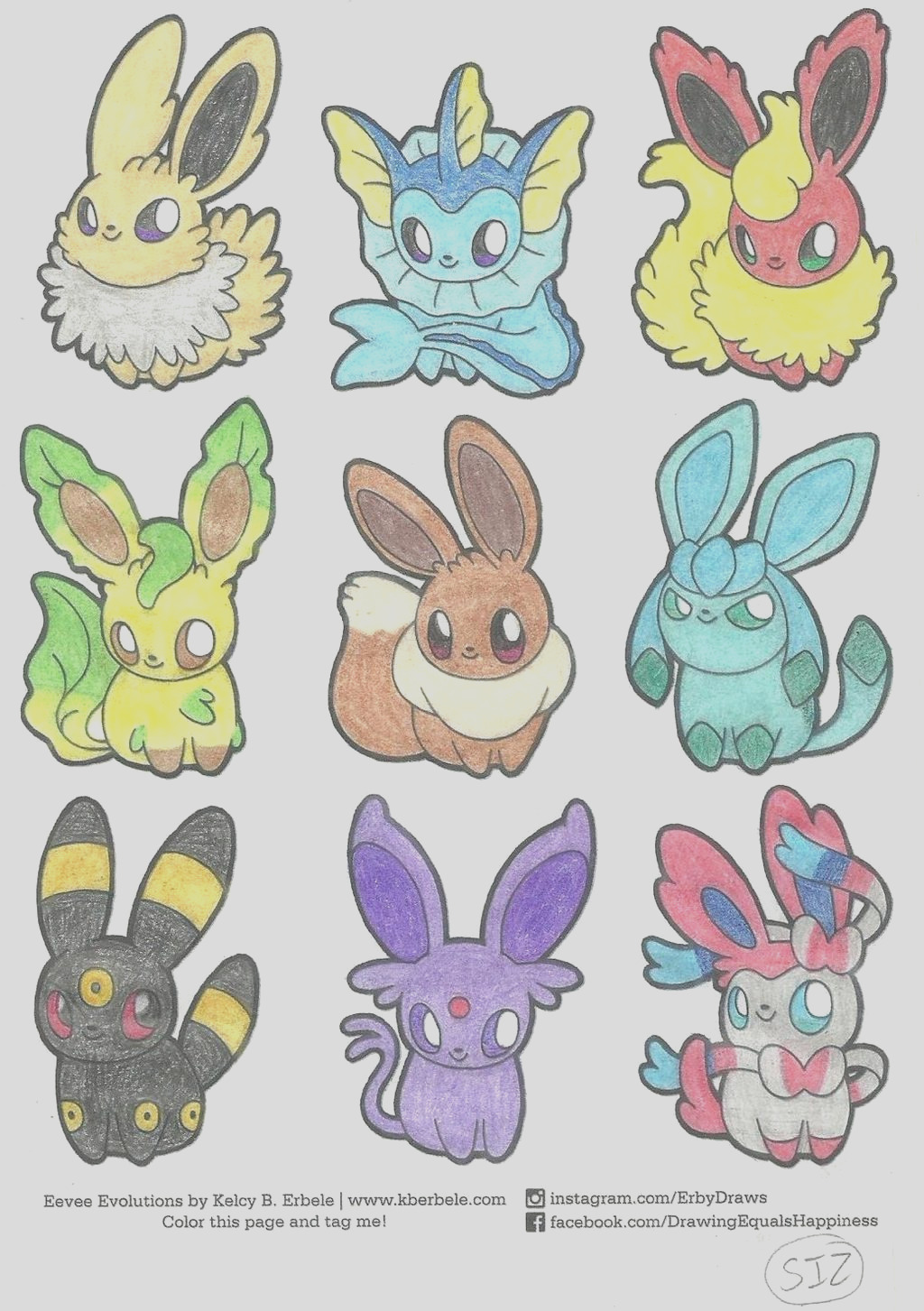 The Eeveelutions Coloring Page 2