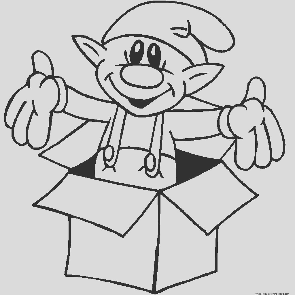 christmas elf in a box coloring pages