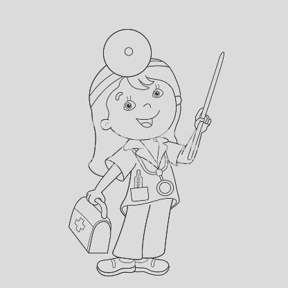 coloring page outline of cartoon doctor with first aid kit gm