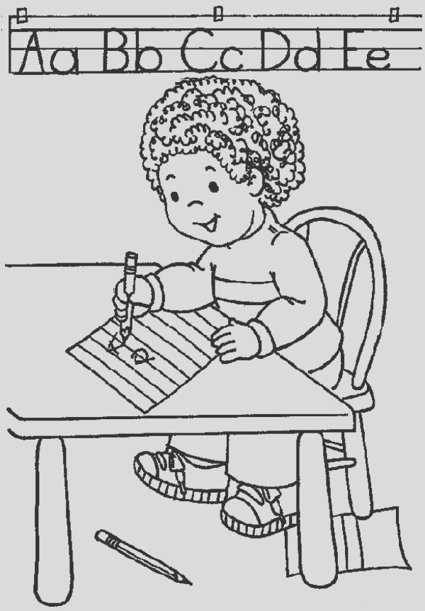 learn abc on first day of school coloring page