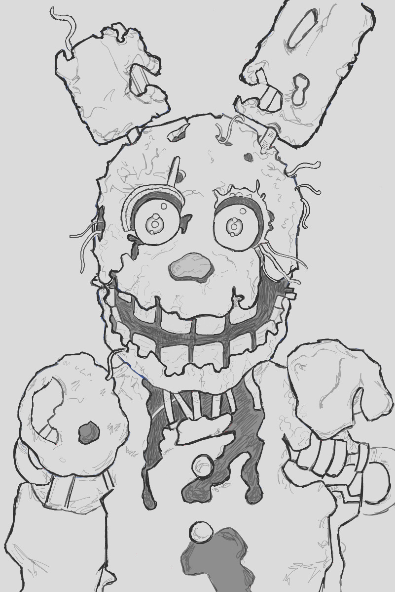 how to draw springtrap from five nights at freddys 3 step by step drawing tutorial