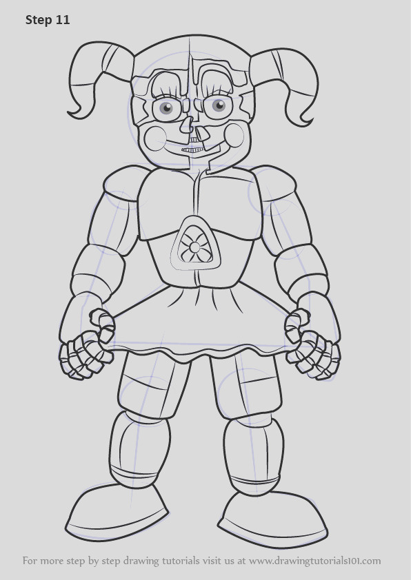 how to draw circus baby from five nights at freddys