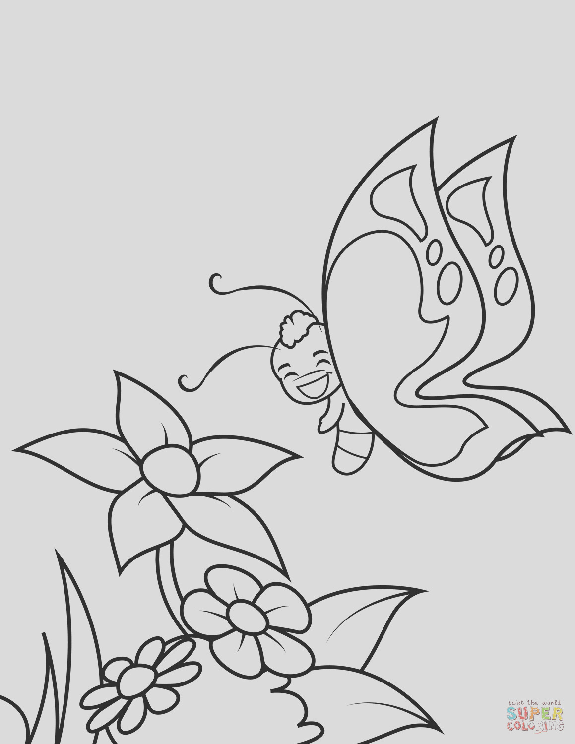 cute butterfly boy flies over flowers tag=
