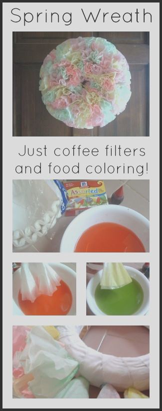 spring wreath with coffee filters and